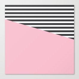 Pink & Gray Stripes Canvas Print