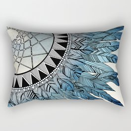 blue feather dreamcatcher Rectangular Pillow