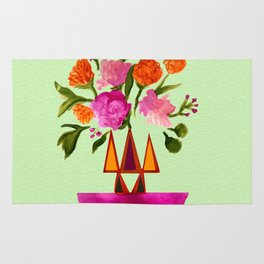 Watercolor Flowers with Geometric Accents Home Goods Design Rug