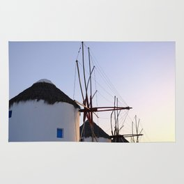 Famous Mykonos Windmills in Greece Rug