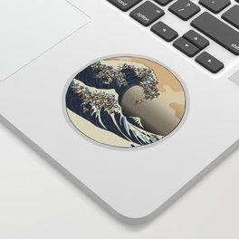 The Great Wave of Pugs Vanilla Sky Sticker