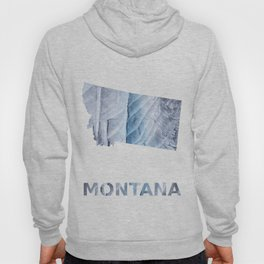 Montana map outline Light steel blue clouded wash drawing Hoody