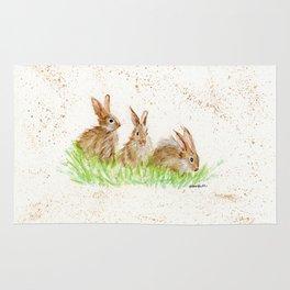 Hoppy Trio Bunnies - animal watercolor painting of rabbits Rug