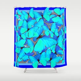 Shades of Turquoise Blue Butterflies Swarming Art Shower Curtain