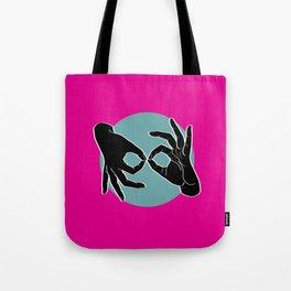 Sign Language (ASL) Interpreter – Black on Turquoise 05 Tote Bag