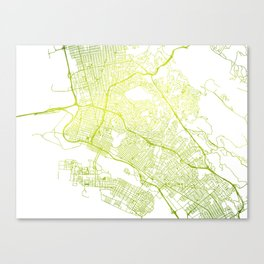 Lime Watercolor • Vector Map of Oakland, California • East Bay Canvas Print