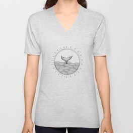Whale in Waves Unisex V-Neck