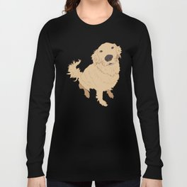 Golden Retriever Love Dog Illustrated Print Long Sleeve T-shirt
