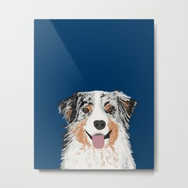 Australian Shepherd blue merle cute pet portrait dog person must have gifts for aussie owner  Metal Print