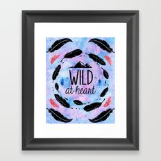 Wild at Heart - Boho Watercolor Feathers Framed Art Print