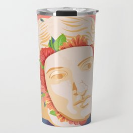 Abstract greek head with flower patterns Travel Mug