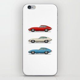 Jaguar E Type Fixed Head Coupe Red White and Blue iPhone Skin