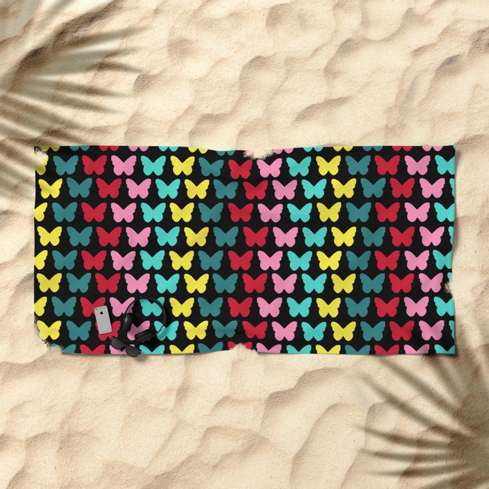 Happy Butterflies on Black Beach Towel