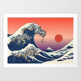 The Great Wave of Pug Art Print