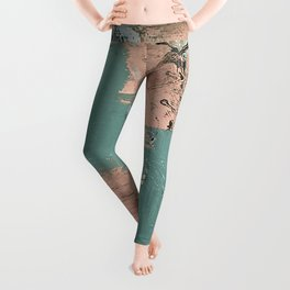 13th and Grant: an abstract mixed media piece in peach green blue and white Leggings