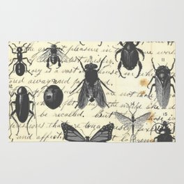 Insect Study on antique journal paper Rug