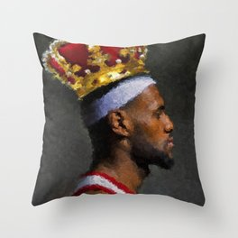 All Hail King James - Lebron Basketball Wall Art Poster, Painting, Sports, Home Decor, Man Cave Throw Pillow