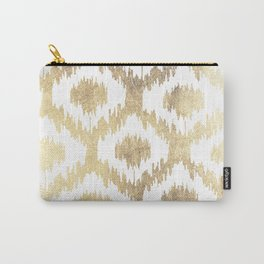 Modern white hand drawn ikat pattern faux gold  Carry-All Pouch