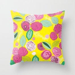 Belles Fleurs - roses bright pattern Throw Pillow