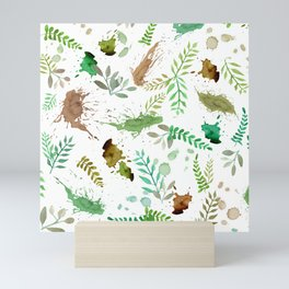 Green Leaves, Paint Splatter, Pattern Mini Art Print