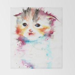 Happy Cat Watercolor Throw Blanket