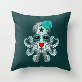 Teal Blue Day of the Dead Sugar Skull Baby Octopus Throw Pillow