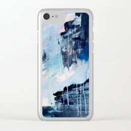 Vibes: an abstract mixed media piece in blues and pinks by Alyssa Hamilton Art Clear iPhone Case