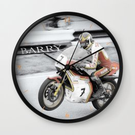 Barry Sheene 2, the hand tinted version Wall Clock