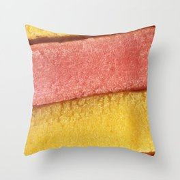 Yellow Peach Colored Bubble Gum Texture Throw Pillow