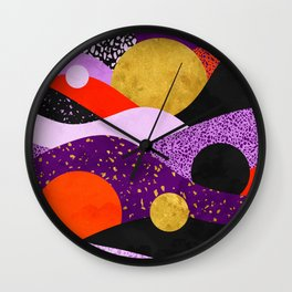 Terrazzo galaxy purple orange gold Wall Clock