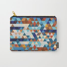 Geometric Triangle Blue, Brown  - Ethnic Inspired Pattern Carry-All Pouch