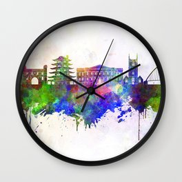 Reading skyline in watercolor background Wall Clock