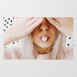 Girl, Model, Lips, Bubble gum, Pastel, Pink, Minimal, Interior, Wall art Rug