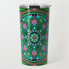 Boho Floral Crest Green Travel Mug
