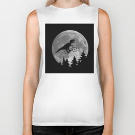 Biker t rex In Sky With Moon 80s Parody Biker Tank