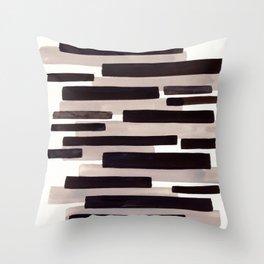 Grey Primitive Stripes Mid Century Modern Minimalist Watercolor Gouache Painting Colorful Stripes Wa Throw Pillow