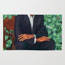 obama portrait smoke Rug