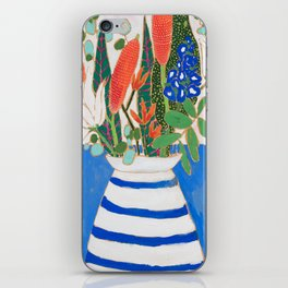 Nautical Striped Vase of Flowers iPhone Skin