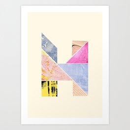 Collaged Tangram Alphabet - H Art Print