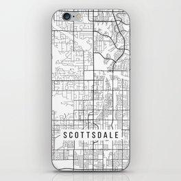 Scottsdale Map, Arizona USA - Black & White Portrait iPhone Skin