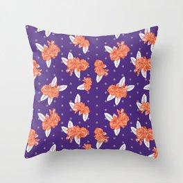 Floral clemson sports college football university varsity team alumni fan gifts purple and orange Throw Pillow