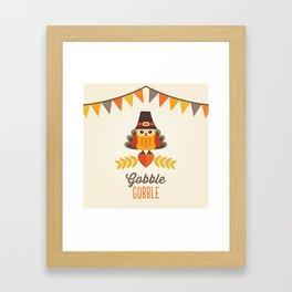 THANKSGIVING OWL IN TURKEY COSTUME AND PILGRIM HAT Framed Art Print