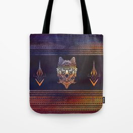 Tribal Wolf Paint Translucent Tote Bag