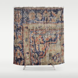 Vintage Woven Blue Shower Curtain