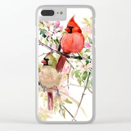 Cardinal Birds and Spring Clear iPhone Case