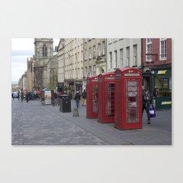 Telephone Booths Royal Mile Edinburgh Canvas Print