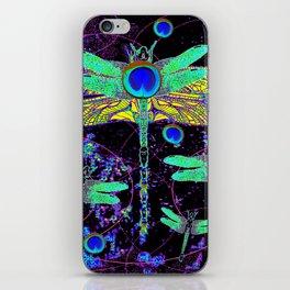 CELESTIAL DRAGONFLIES DREAMSCAPE BLACK DESIGN iPhone Skin