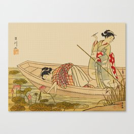 Women Gathering Lotus Blossoms Canvas Print