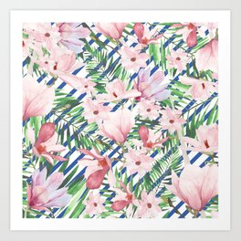 Modern blue white stripes blush pink green watercolor floral Art Print