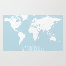 World Map - Wanderlust Quote - Modern Travel Map in Light Blue With White Countries Rug